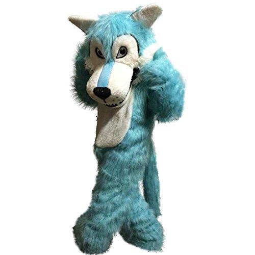 Langteng blau Wolf lang hariy Cartoon Maskottchen Kostüm Echt Bild 15-20Tage Marke