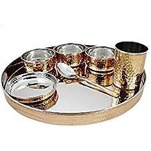 Crafts' Man acero de cobre vajilla de: 1 plato, cuenco 3, 1 cristal y 1 cuchara