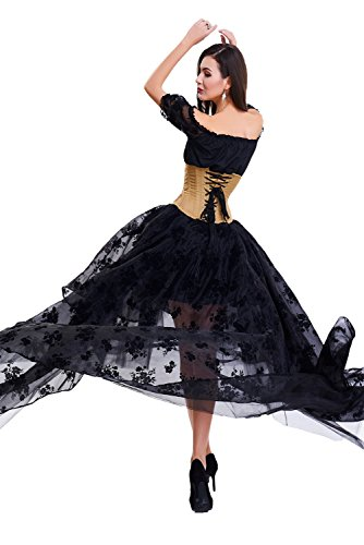 COSWE Damen Röcke Schwarz Punk Irregular Kleid Steampunk Cocktail Chiffon Spitze Party Rock Cosplay Rock