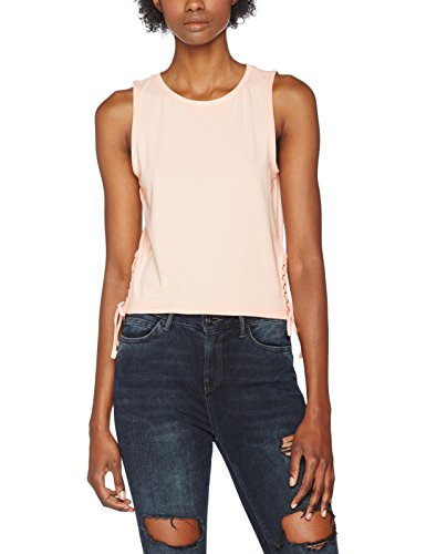 Urban Classics Ladies Lace Up Cropped Top, Canottiera Donna Rosa (pink 185)