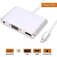 Lightning auf HDMI/VGA/Audio Adapter Konverter Kabel, anskp 3in 1Lightning 8Pin zu Digital AV Multiport HDMI VGA & Audio Adapter mit Micro USB Ladekabel + 3,5mm Audio Port für iPhone/iPad