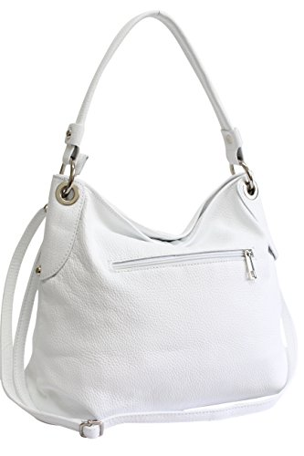 AMBRA Moda Damen echt Ledertasche Handtasche Schultertasche Beutel Shopper Umhängtasche GL012 Weiß