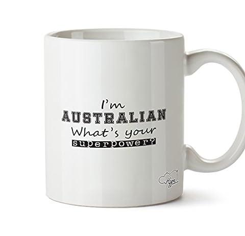 Hippowarehouse Je suis australien Quelle est votre Superpower? 283,5gram Mug