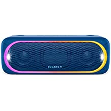 Sony SRS-XB30L - Altavoz inalámbrico portátil (Bluetooth, NFC, Extra Bass, 24h de batería, Wireless Party Chain, luz lineal multicolor, flash estroboscópico) color azul