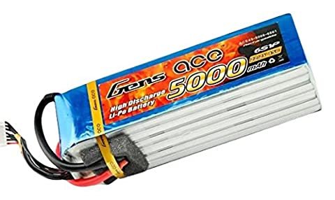 Gens Ace Lipo Rechargeable 5000mAh 22.2V 45C 6S Rechargeable Battery for Align GAUI KDS elyq trex-550600Airplane Jet Boat