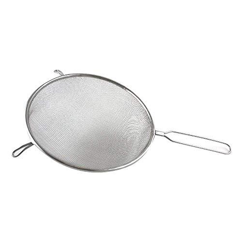 Fackelmann Sieb Ø 20 cm, Küchensieb aus Edelstahl, feinmaschiger Seiher mit Griffeinlage aus Kunststoff (Farbe: Weiß/Silber), Menge: 1 Stück