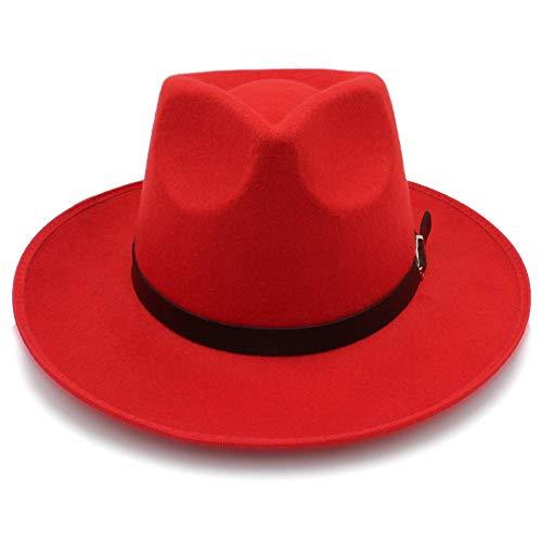 Hut-Mode Unisex Womem Männer Klassische Wide Brim Sun Feodora Panama Cap (Farbe: Rot, Größe: 56-58CM)