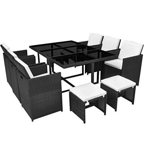 vidaXL Essgruppe 27-TLG. Poly Rattan Gartenmöbel Set Gartengarnitur Sitzgruppe