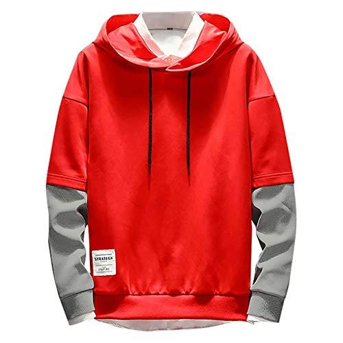 VJGOAL Sweatshirt Herren Pullover Hoodies Oversized Große Größen Lange Ärmel Beiläufig Mode Patchwork Tunnelzug Tops Men