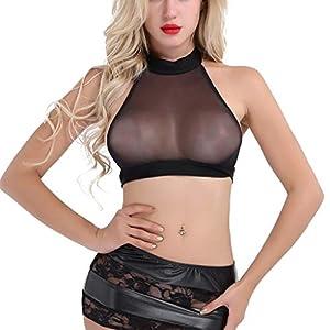 Luckycat Damen Vollbrust Faux Leder Corsagenkleid Korsett ÜBergrößEn Schwarz Sexy Spitze Wetlook Lungerie Lingerie Transparent Erotische Unterwäsche