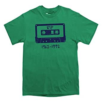 Rocket Factory R.I.P. TO THE CASSETTE TAPE old school retro T-shirt Green Small
