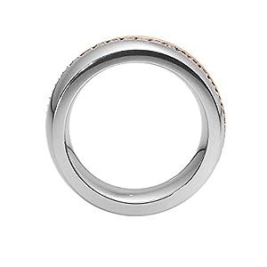 Heideman Ring Damen Unda Bicolor aus Edelstahl Rosegold farbend matt Damenring für Frauen mit Swarovski Stein Kristall Weiss im Brillant Schliff 1,5mm