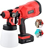 18V Cordless Electric Spray Gun, 800ml Wireless Handheld Rechargeable Paint Sprayers with 2Ah Lithium Battery