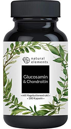 Glucosamin + Chondroitin - Einführungspreis - 180 Kapseln - Komplex mit Vitamin C aus Hagebutten - Hochdosiert und hergestellt in Deutschland