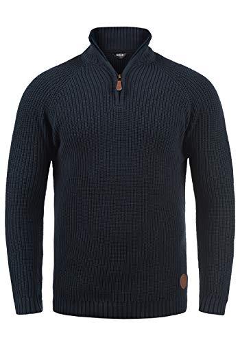 !Solid Xenox Herren Winter Pullover Strickpullover Troyer Grobstrick mit Stehkragen, Größe:M, Farbe:Insignia Blue (1991)