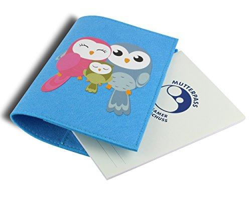 Mutterpasshülle / Mutter-Kind-Pass-Hülle aus hochwertigem Filz - Süßes Design mit Eulen Familie - Fach für Gesundheitskarte & großes Innenfach - Blau