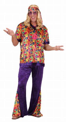 Widmann 73303 - Kostüm Hippie-Mann Shirt, Hose und Stirnband, Größe (Kostüm Ideen 70 60 Und)
