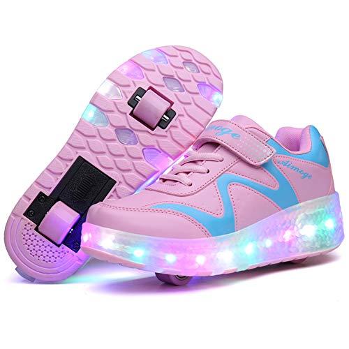 MNVOA Unisex Kinder Mode LED Schuhe mit Rollen Drucktaste Einstellbare Skateboardschuhe Outdoor Gymnastik Turnschuhe Für Junge Mädchen,Pink,35EU