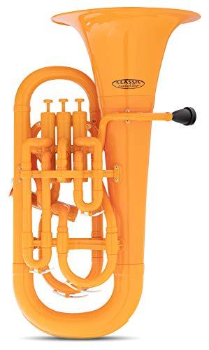 Classic Cantabile MardiBrass Kunststoff Bb-Euphonium - 4 Aluminium-Ventile - nur 2,2 kg leicht - inkl. Mundstück und Leichtkoffer mit Rollen - orange