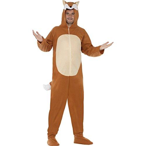 Tierkostüm Herren - Amakando Jumpsuit Fuchskostüm Fuchs Kostüm M 48/50 Plüschkostüm Fox Tierkostüm Overall Herren Ganzkörperanzug Tier Ganzkörperkostüm Erwachsene