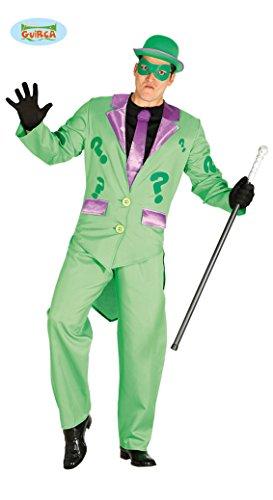 5-teilig - Herren Mister Incognito Riddler Kostüm - Frack Hose Maske Jabot mit Krawatte -  Gr.L (Ideen Für Superhelden Kostüm Party)