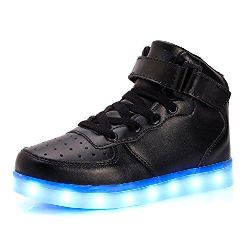 DoGeek LED Schuhe 7 Farbe USB Aufladen Leuchtend Sportschuhe LED Sneaker Turnschuhe für Herren Damen (Wählen Sie 1 Größere Größe) (29 EU, High-Top Black) (Super-high-top-sneaker)