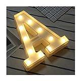 DUBENS - Luci a LED a forma di lettere dell'alfabeto, in plastica, luce bianca calda, per feste, matrimoni, ricevimenti in casa, funzionamento a batteria a