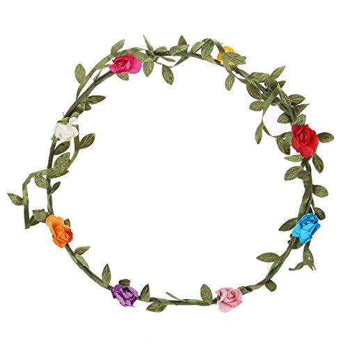 Bandeau-SODIAL(R) 2 pcs Dame Boho Floral Fleur Festival Mariage Guirlande Front Bandeau Bande de cheveux - Multicolore