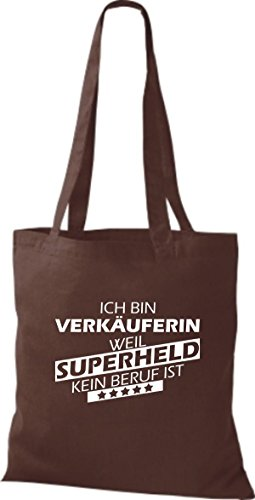 Shirtstown Stoffbeutel Ich bin Verkäuferin, weil Superheld kein Beruf ist braun