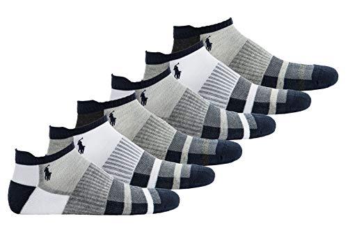 Polo Ralph Lauren Herren Sneakersocken, 6er Pack - Sportsocken, One Size, weiß/grau/blau (Ralph Männer Lauren-socken Für)