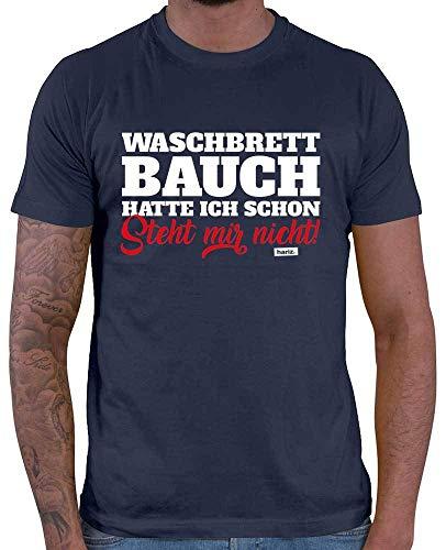 Lustig Navy T-shirts (HARIZ  Herren T-Shirt Waschbrettbauch Hatte Ich Schon Steht Mir Nicht Lustiger Spruch Plus Geschenkkarten Navy Blau 5XL)