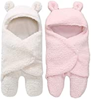 My NewBorn 3 in 1 Baby Blanket for 0-6 Months Babies,(Pack of 2, White/Pink)