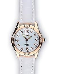 acustyle (TM) mujeres reloj 2Número Crystal Diamond Dots hora marcas redondo Dial piel de la pulsera reloj de pulsera