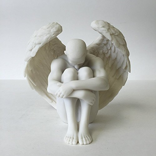 Male Nude Angel Holding Knees Statue Sculpture by wu