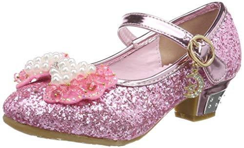 Tyidalin Niña Bailarina Zapatos de Tacón Disfraz de Princesa niña Princesa del Otoño de las Lentejuelas de Prinavera para 3 a 12 Años Rosa 28