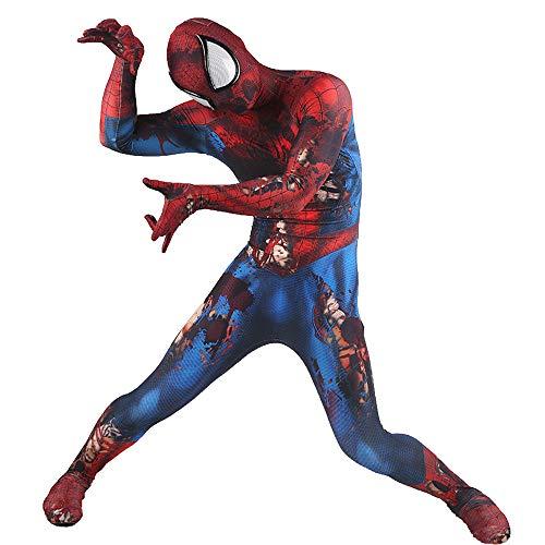 FHTD Venom Cosplay Kostüm, Erwachsene Kinder Kostüm, Zentai, Weihnachten Halloween Spider Man Rollenspiel Kleidung,Rot,ChildXS