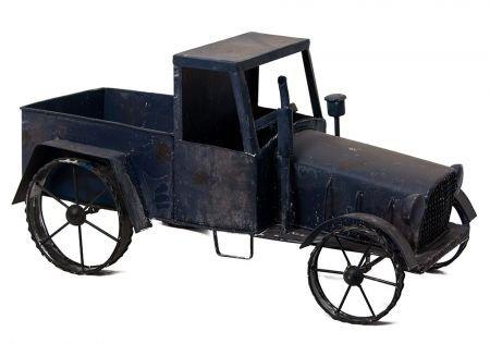 Truck décorative métal bleu antique Camion Pot Pot Décoration en métal Décoration de jardin Laster