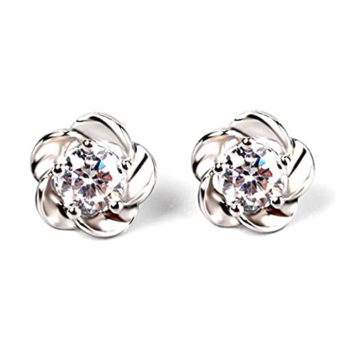 Banggood 1pair Womens Sterling Silver Platinum Plated Flowers Ear Earrings by Bangood
