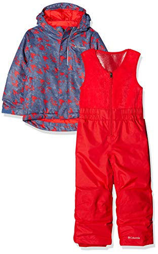 Columbia Schnee-Set mit Jacke und Hose für Kinder, Buga, Nylon, blau (dark mountain arrow print), Gr. XS - Nylon-isolierte Jacke