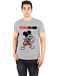 Enquotism White Combed Fabric Round Neck Men T-Shirt Bloody Mouse Grey