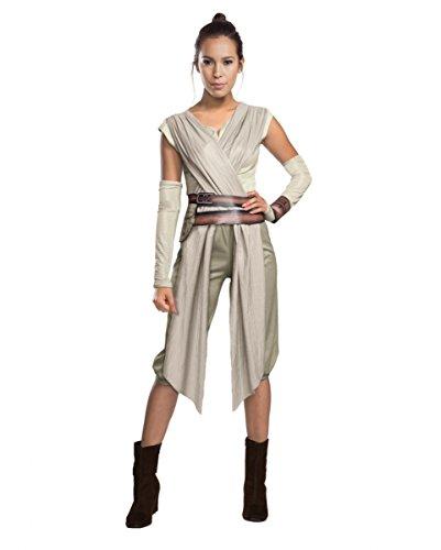 (Horror-Shop Star Wars 7 Kostüm Rey Damen Deluxe 5-Tlg Hemd mit Schärpe Hose Gürtel Armstulpen Manschette Natur Sand Beige - S)