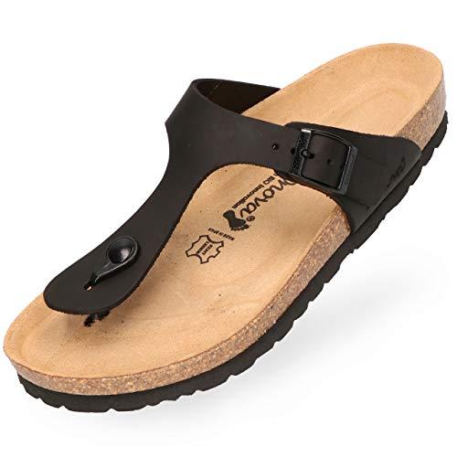 BOnova Damen Zehen-Trenner Ibiza aus hochwertigem Echtleder, stylische Pantolette mit Kork-Fußbett - Sandalen zum Wohlfühlen - hergestellt in der EU schwarz 40 -