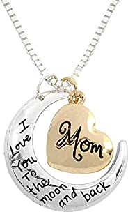 I Love You To The Moon and Back Message Pendant Necklace for Mom