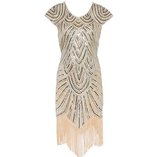 ZKOO Damen 1920s Vintage Pailletten Troddel Gesäumtes Flapper Kleid Cocktailkleid Beige (Flapper Kleid Kleider Schickes)