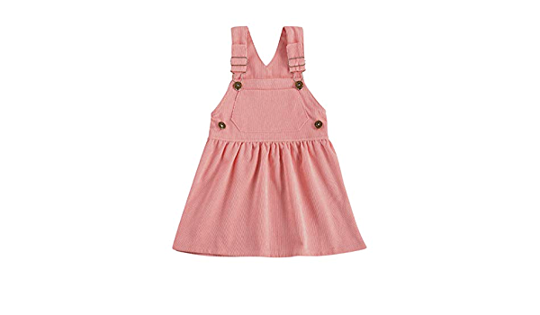 Aixin Kid Toddler Baby Girl Fall Outfits Suspender Overall Dress Corduroy Strap Pocket Bib Suspender Skirt 0M-3Y