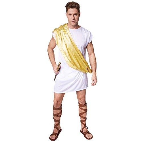 Jungen Für Griechische Kostüm Götter - TecTake dressforfun Herrenkostüm Legionär Octavius | Bequemes, weißes Gewand | Gold-gelbe Schärpe zum Umhängen (XXL | Nr. 300498)