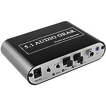 Dax-Hub FDL Digitale-analogico Decodificatore Audio Convertitore - Convertire DTS / AC-3 del segnale e stereo (R / L) nel 5,1 Uscita AC3 / DTS audio HD Gear Digital a 5.1 Canali Stereo Analogico RCA Audio Converter Decoder (Grigio)