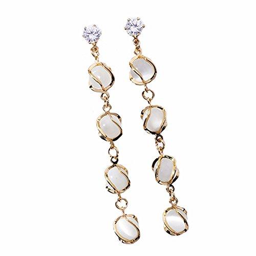Chakil 1 Paar Spiral Opal Openwork Quaste Lange Ohrringe Wilde Zirkon Geometrische Ohrringe Quasten Ohrringe Opale Spiral