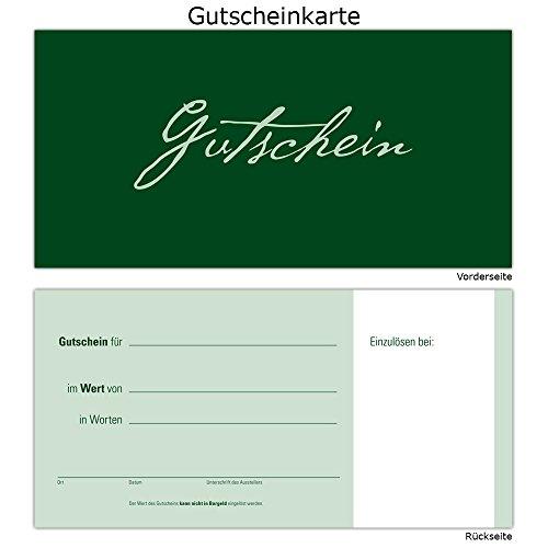 100 Gutscheine Gutscheinkarten Geschenkgutscheine – edel neutral Grün
