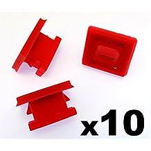 10x Remaches Plásticos - Salpicadero Molduras Rallas Ojal Rojo Clips para A rayas Inserto